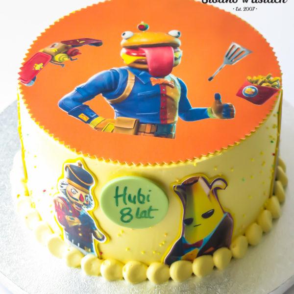 LM107 - tort urodzinowy, na urodziny, dla dzieci, fortnite, w kremie, last minute, na ostatnią chwilę, bez masy cukrowej, cukiernia z dostawą, transportem, dostawą, Warszawa, Piaseczno, Konstancin Jeziorna,, Otwock, Góra kalwaria, Wilanów