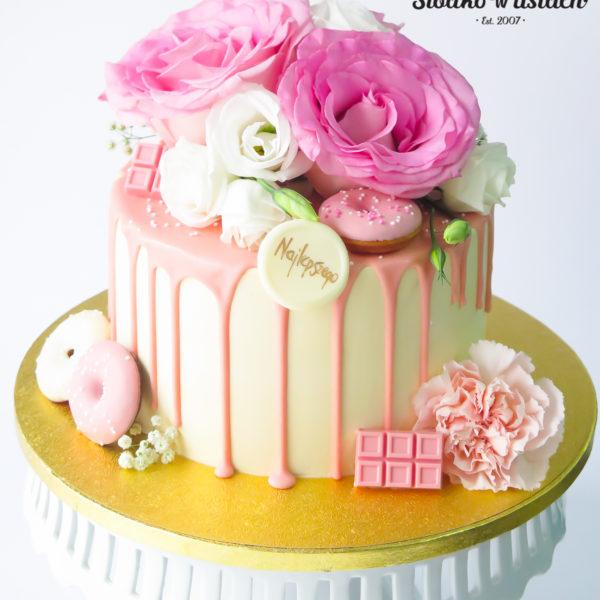 LM118 - tort urodzinowy, na urodziny, złocony, z kwiatami, w kremie, last minute, kobiecy, na ostatnią chwilę, bez masy cukrowej, cukiernia z dostawą, transportem, dostawą, Warszawa, Piaseczno, Konstancin Jeziorna,, Otwock, Góra kalwaria, Wilanów