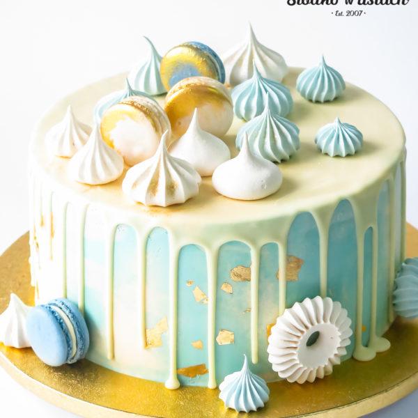LM122 - tort urodzinowy, na urodziny, dla dzieci, złocony, w kremie, drip, z polewą, last minute, na ostatnią chwilę, bez masy cukrowej, cukiernia z dostawą, transportem, dostawą, Warszawa, Piaseczno, Konstancin Jeziorna, Otwock, Góra Kalwaria, Wilanów