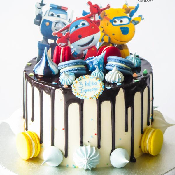 LM127 - tort urodzinowy, na urodziny, dla dzieci, super wings, samoloty, w kremie, drip, z polewą, last minute, na ostatnią chwilę, bez masy cukrowej, cukiernia z dostawą, transportem, dostawą, Warszawa, Piaseczno, Konstancin Jeziorna, Otwock, Góra Kalwaria, Wilanów