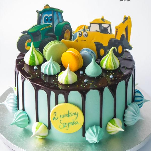 LM128 - tort urodzinowy, na urodziny, dla dzieci, z koparką, traktorem, w kremie, drip, z polewą, last minute, na ostatnią chwilę, bez masy cukrowej, cukiernia z dostawą, transportem, dostawą, Warszawa, Piaseczno, Konstancin Jeziorna, Otwock, Góra Kalwaria, Wilanów