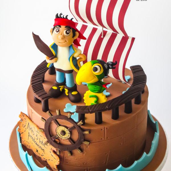 U104 - tort, urodzinowy, na urodziny, statek piracki, kapitan jake i piraci z nibylandii, artystyczny, dla dzieci, najlepsze torty, z dostawą, z transportem, dowozem, cukiernia, warszawa, piaseczno, konstancin jeziorna, góra kalwaria, wilanów, otwock