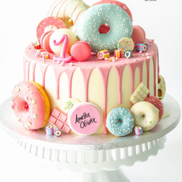U638 - tort urodzinowy, na urodziny, artystyczny, wyjątkowy, na roczek, donut, cukierki, w kremie, bez masy cukrowej, cukiernia z dostawą, transportem, dowozem, warszawa, piaseczno, konstancin jeziorna, góra kalwaria, otwock