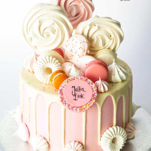 U644 - tort urodzinowy, na urodziny, artystyczny, wyjątkowy, na roczek, drip, beziki, makaroniki, w kremie, bez masy cukrowej, cukiernia z dostawą, transportem, dowozem, warszawa, piaseczno, konstancin jeziorna, góra kalwaria, otwock