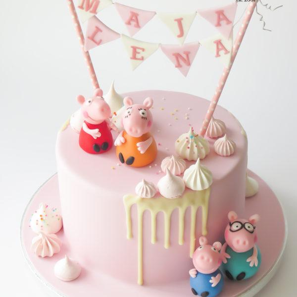 U650 - tort urodzinowy, na urodziny, artystyczny, wyjątkowy, świnka peppa, drip, beziki, najlepsze torty,cukiernia z dostawą, transportem, dowozem, warszawa, piaseczno, konstancin jeziorna, góra kalwaria, otwock