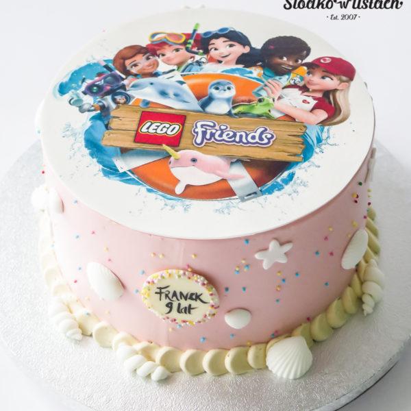 U655 - tort urodzinowy, na urodziny, artystyczny, wyjątkowy, z wydrukiem, dla dziewczynki, lego friends, w kremie, bez masy cukrowej, najlepsze torty,cukiernia z dostawą, transportem, dowozem, warszawa, piaseczno, konstancin jeziorna, góra kalwaria, otwock