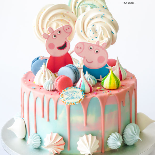 U656 - tort urodzinowy, na urodziny, artystyczny, wyjątkowy, świnka peppa, george, drip, beziki, makaroniki, dla dziewczynki, w kremie, bez masy cukrowej, najlepsze, najpiękniejsze torty,cukiernia z dostawą, transportem, dowozem, warszawa, piaseczno, konstancin jeziorna, góra kalwaria, otwock