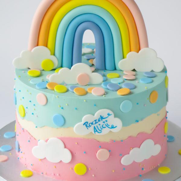 U657 - tort urodzinowy, na urodziny, artystyczny, wyjątkowy, na roczek, tęczą, z teczą, w kremie, bez masy cukrowej, najlepsze torty, cukiernia z dostawą, transportem, dowozem, warszawa, piaseczno, konstancin jeziorna, góra kalwaria, otwock