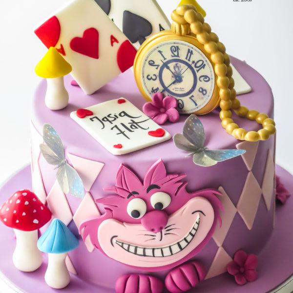 U658 - tort urodzinowy, na urodziny, artystyczny, wyjątkowy, dla dziewczynki, alicja w krainie czarów, najlepsze, najpiękniejsze, torty,cukiernia z dostawą, transportem, dowozem, warszawa, piaseczno, konstancin jeziorna, góra kalwaria, otwock