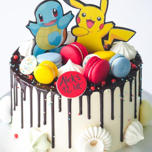 U664 - tort urodzinowy, na urodziny, artystyczny, wyjątkowy, pokemony, pikachu, drip, beziki, makaroniki, w kremie, bez masy cukrowej, najlepsze, najpiękniejsze torty,cukiernia z dostawą, transportem, dowozem, warszawa, piaseczno, konstancin jeziorna, góra kalwaria, otwock