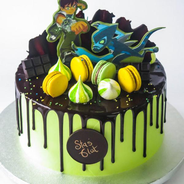 U669 - tort urodzinowy, na urodziny, artystyczny, wyjątkowy, ben10, szybcior, beziki, makaroniki, w kremie, bez masy cukrowej, najlepsze, najpiękniejsze torty,cukiernia z dostawą, transportem, dowozem, warszawa, piaseczno, konstancin jeziorna, góra kalwaria, otwock
