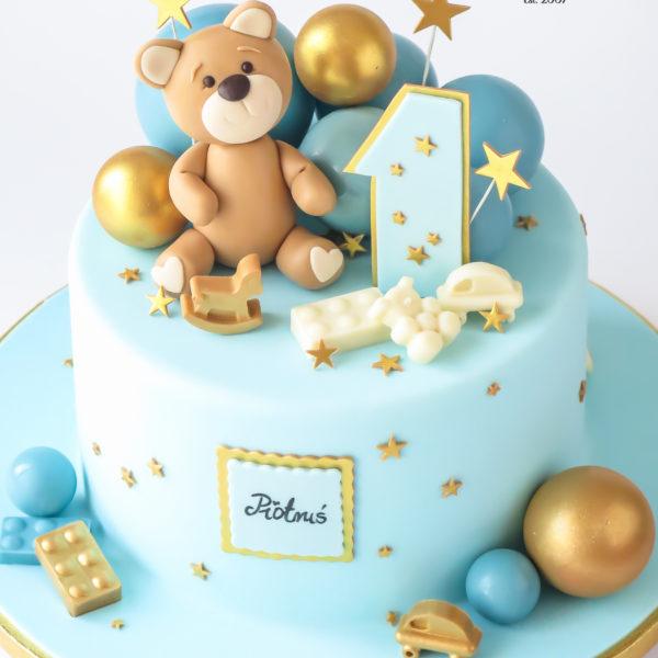 U672 - tort urodzinowy, na urodziny, artystyczny, wyjątkowy, z misiem, miś, na 1 urodzinki, roczek, dla chłopca, najlepsze, najpiękniejsze, torty,cukiernia z dostawą, transportem, dowozem, warszawa, piaseczno, konstancin jeziorna, góra kalwaria, otwock