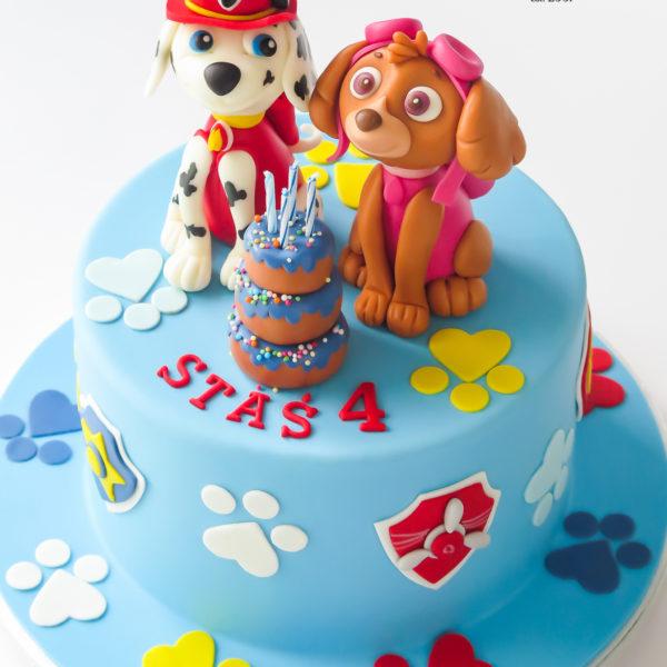 U679 - tort urodzinowy, na urodziny, artystyczny, wyjątkowy, z pieskiem, psi patrol, dla chłopca, najlepsze, najpiękniejsze, torty,cukiernia z dostawą, transportem, dowozem, warszawa, piaseczno, konstancin jeziorna, góra kalwaria, otwock