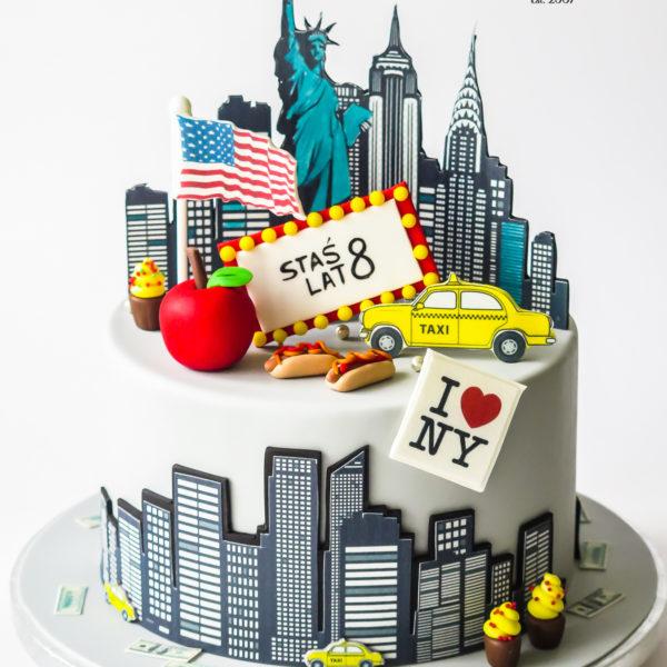 U683 - tort urodzinowy, na urodziny, artystyczny, wyjątkowy, elegancki, nowy york, new york, cake, cukiernia z dostawą, transportem, dowozem, warszawa, piaseczno, konstancin jeziorna, góra kalwaria, otwock