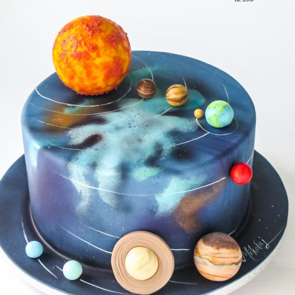 U686 - tort urodzinowy, na urodziny, artystyczny, wyjątkowy, elegancki, kosmos, planety, układ słoneczny, cukiernia z dostawą, transportem, dowozem, warszawa, piaseczno, konstancin jeziorna, góra kalwaria, otwock
