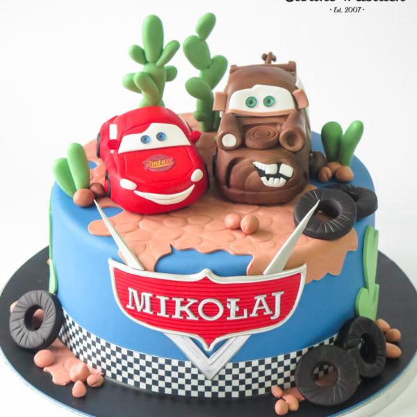 U687 - tort urodzinowy, na urodziny, artystyczny, wyjątkowy, cars, auta złomek, mcqueen, zyzgzak, samochody, dla chłopca, najlepsze, najpiękniejsze, torty,cukiernia z dostawą, transportem, dowozem, warszawa, piaseczno, konstancin jeziorna, góra kalwaria, otwock
