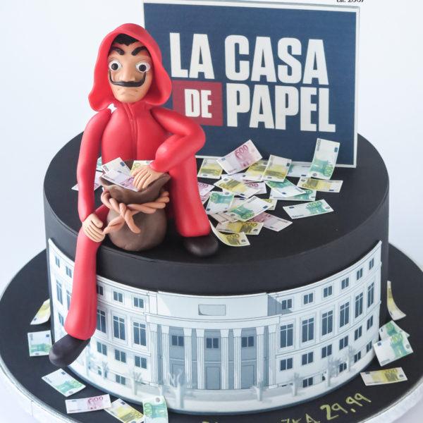 U688 - tort urodzinowy, na urodziny, artystyczny, wyjątkowy, elegancki, la casa de papel, cake, cukiernia z dostawą, transportem, dowozem, warszawa, piaseczno, konstancin jeziorna, góra kalwaria, otwock