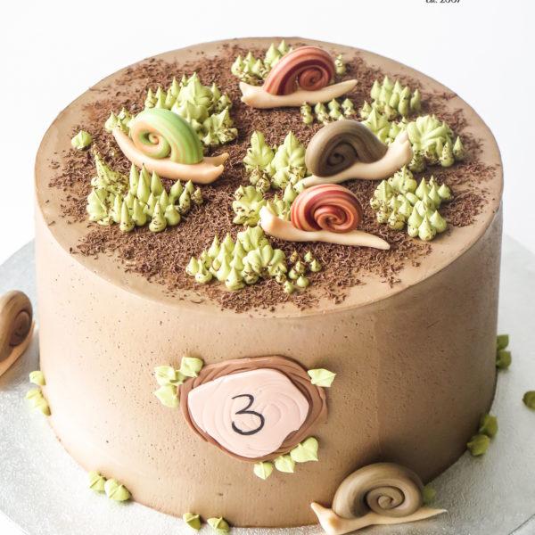 U694 - tort urodzinowy, na urodziny, artystyczny, wyjątkowy, z wydrukiem, ślimaki, w kremie, bez masy cukrowej, najlepsze torty,cukiernia z dostawą, transportem, dowozem, warszawa, piaseczno, konstancin jeziorna, góra kalwaria, otwock
