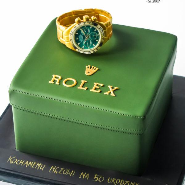 U700 - tort urodzinowy, na urodziny, artystyczny, wyjątkowy, zegarek, pudełko, złoty, rolex, dla męża, męski, dla mężczyzny, najlepsze, najpiękniejsze torty,cukiernia z dostawą, transportem, dowozem, warszawa, piaseczno, konstancin jeziorna, góra kalwaria, otwock