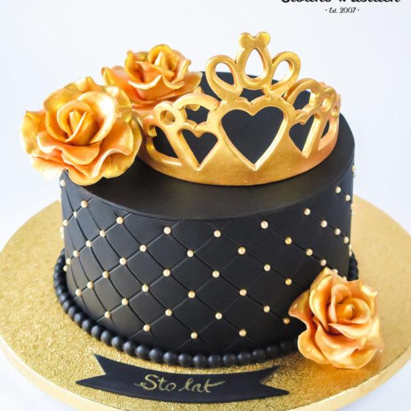 U701 - tort urodzinowy, na urodziny, artystyczny, wyjątkowy, korona, złota, z kwiatami, różami, dla żony, kobiecy, dla kobiety, najlepsze, najpiękniejsze torty,cukiernia z dostawą, transportem, dowozem, warszawa, piaseczno, konstancin jeziorna, góra kalwaria, otwock
