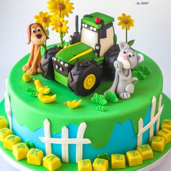 U707 - tort urodzinowy, na urodziny, artystyczny, wyjątkowy, farma ze zwierzątkami, zwierzątka, traktor, najlepsze, najpiękniejsze, torty,cukiernia z dostawą, transportem, dowozem, warszawa, piaseczno, konstancin jeziorna, góra kalwaria, otwock