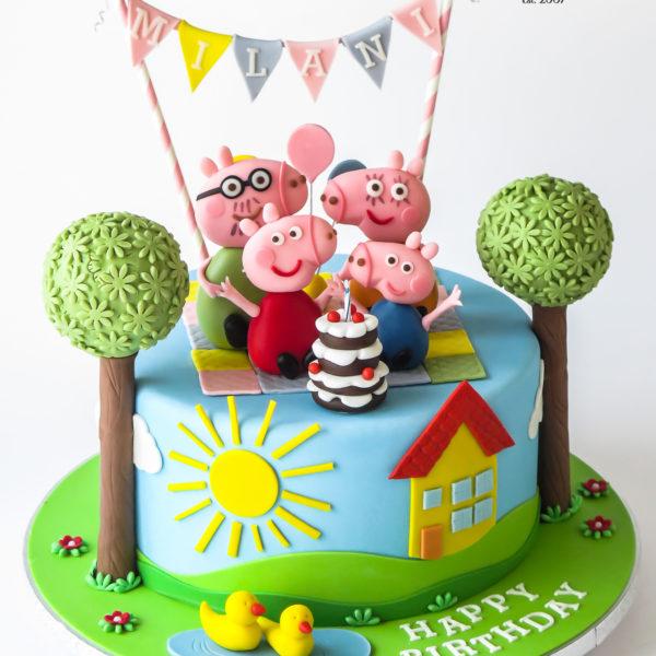 U709 - tort urodzinowy, na urodziny, artystyczny, wyjątkowy, świnka peppa, najlepsze, najpiękniejsze, torty,cukiernia z dostawą, transportem, dowozem, warszawa, piaseczno, konstancin jeziorna, góra kalwaria, otwock