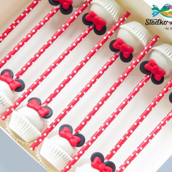 C322 - cake pops, lizaki, myszka minnie, prezenty, słodki stół, kącik, candy, bar , firmowe, event, warszawa, z dostawą, polska